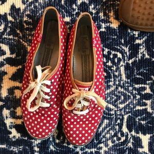 Red and white polka dot Keds
